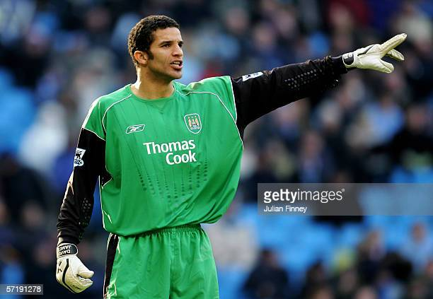 David James, the Manchester City goalkeeper, gives instructions during the Barclays Premiership match between Manchester City and Wigan Athletic at...