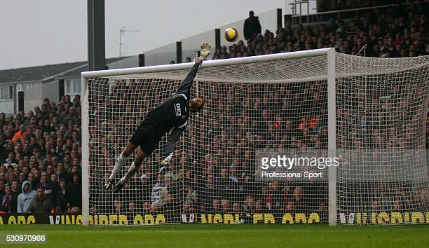 David James, the Portsmouth goalkeeper, makes a save during the Barclays Premiership match between West Ham United and Portsmouth at Upton Park on...