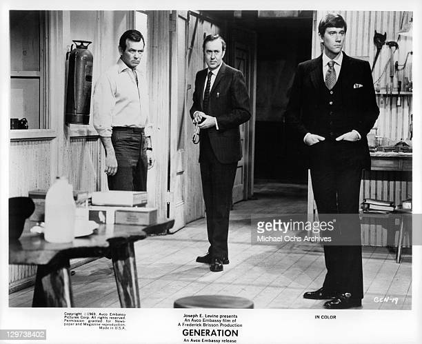 David Janssen Carl Reiner and Andrew Prine in a scene from the film 'Generation' 1969