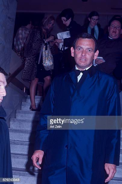 David Janssen in a navy overcoat circa 1970 New York