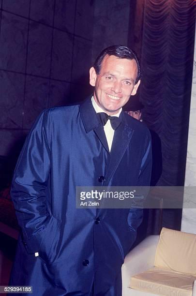 David Janssen in a tux and top coat circa 1960 New York