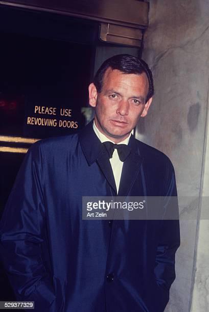 David Janssen in tux and overcoat circa 1960 New York