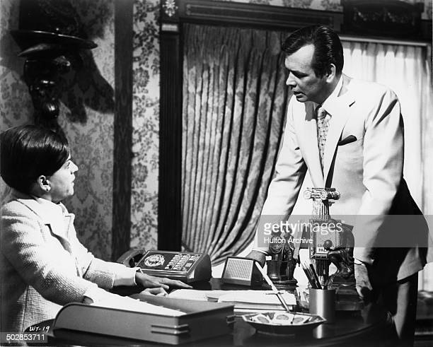 David Janssen tries to get into his office in a scene for the United Artist movie Where It's At circa 1968