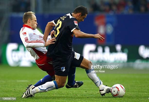 David Jarolim of Hamburg and Sejad Salihovic of Hoffenheim compete for the ball during the Bundesliga match between Hamburger SV and 1899 Hoffenheim...