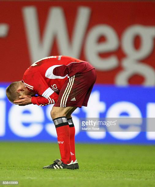 David Jarolim of Hamburg looks dejected after the UEFA Cup Group F match between Hamburger SV and Ajax Amsterdam at the HSH Nordbank Arena on...
