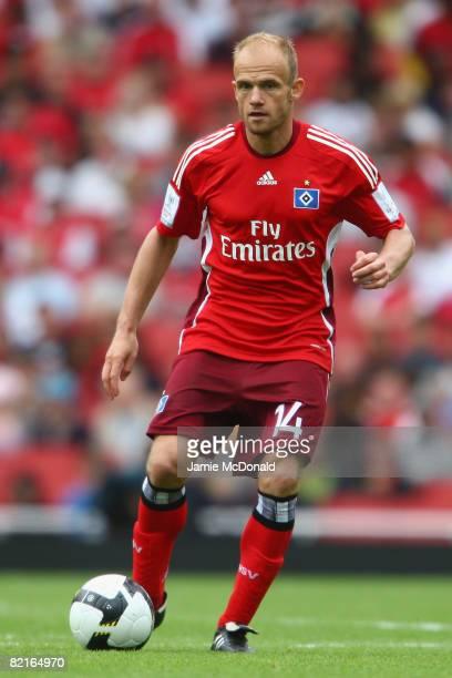 David Jarolim of SV Hamburg in action during the preseason friendly match between Juventus and SV Hamburg during the Emirates Cup at the Emirates...