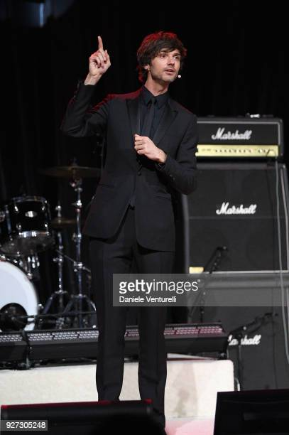David Jarre performs onstage during Elton John AIDS Foundation 26th Annual Academy Awards Viewing Party at The City of West Hollywood Park on March 4...