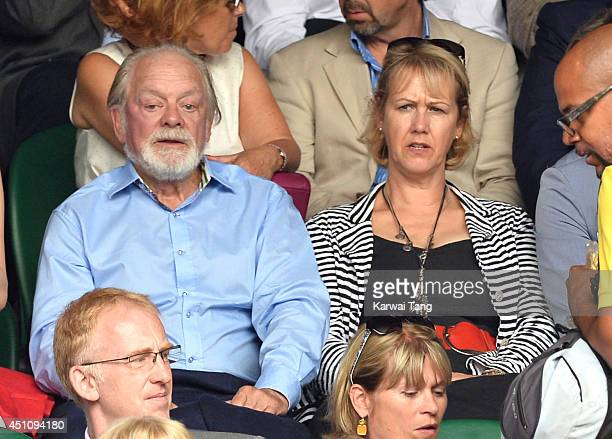 David Jason and Gill Hinchcliffe attend the Andy Murray v David Goffin match on centre court during day one of the Wimbledon Championships at...
