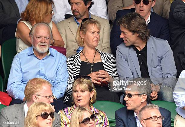 David Jason Gill Hinchcliffe and John Bishop attend the Andy Murray v David Goffin match on centre court during day one of the Wimbledon...