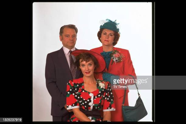 David Jason, Gwen Taylor and Nicola Pagett in character as Ted Simcock, Rita Simcock and Liz Rodenhurst in the comedy series A Bit Of A Do, circa...