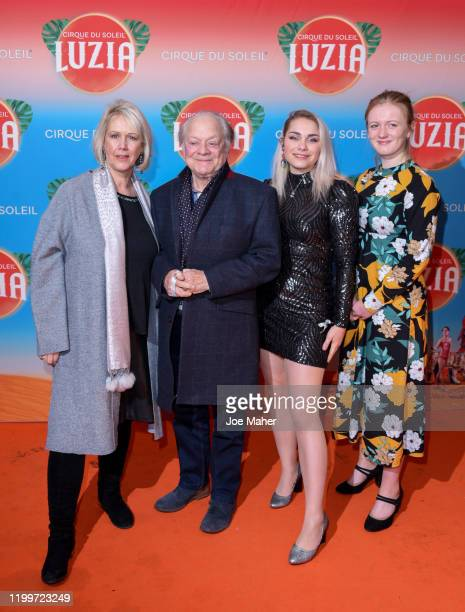 """David Jason, wife Gill Hinchcliffe , daughter Sophie Mae Jason and guest attend Cirque du Soleil's """"LUZIA"""" at The Royal Albert Hall on January 15,..."""