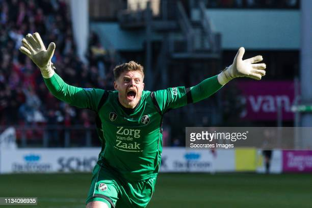 David Jensen of FC Utrecht celebrate the 32 during the Dutch Eredivisie match between FC Utrecht v Feyenoord at the Stadium Galgenwaard on March 31...