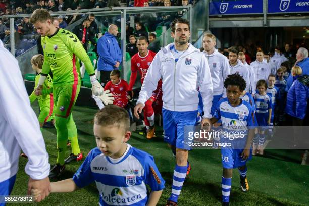 David Jensen of FC Utrecht Dirk Marcellis of PEC Zwolle entering the field during the Dutch Eredivisie match between PEC Zwolle v FC Utrecht at the...