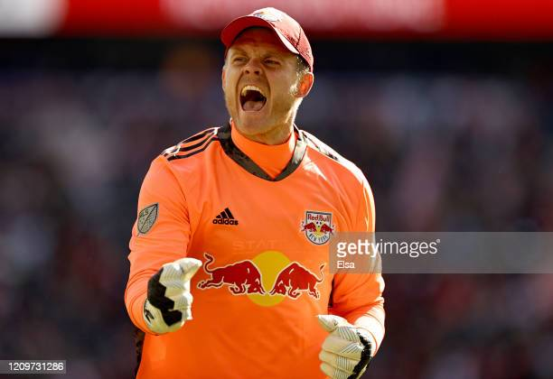 David Jensen of New York Red Bulls celebrates a goal by teammate Daniel Royer in the second half to win the game over FC Cincinnati at Red Bull Arena...