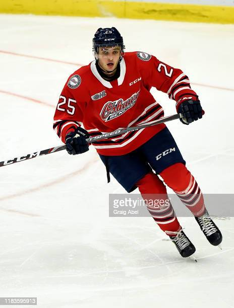 David Jesus of the Oshawa Generals skates against the Mississauga Steelheads during game action on October 25, 2019 at Paramount Fine Foods Centre in...