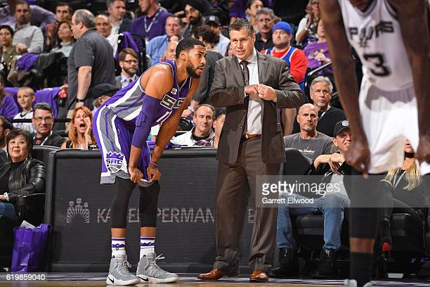 David Joerger coaches Garrett Temple of the Sacramento Kings during the game against the San Antonio Spurs on October 27 2016 at the Golden 1 Center...