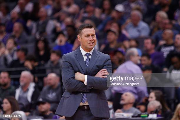 David Joerger head coach of the Sacramento Kings looks on during a timeout from the game against the Phoenix Suns at Golden 1 Center on March 23 2019...