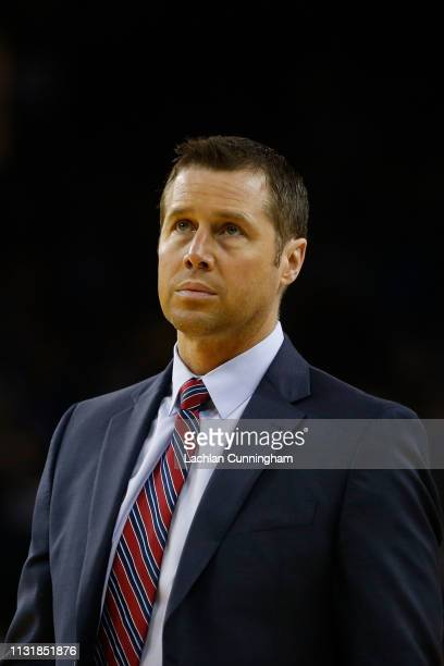 David Joerger head coach of the Sacramento Kings looks on during the game against the Golden State Warriors at ORACLE Arena on February 21 2019 in...