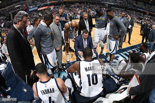 David Joerger of the Memphis Grizzlies draws out a play against the Golden State Warriors on April 9 2016 at FedExForum in Memphis Tennessee NOTE TO...