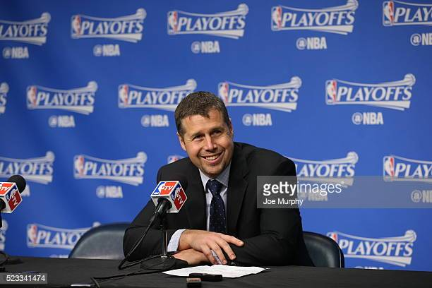 David Joerger of the Memphis Grizzlies is seen at a post game press conference after the game against the San Antonio Spurs in Game Three of the...
