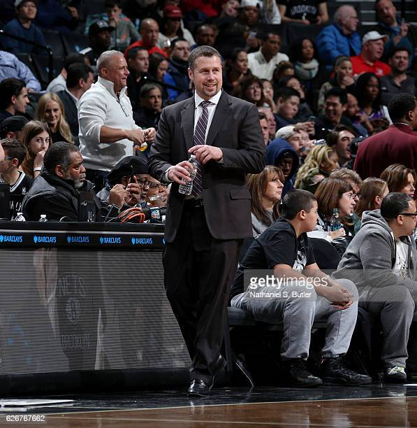 David Joerger of the Sacramento Kings coaches during the game against the Brooklyn Nets on November 27 2016 at Barclays Center in Brooklyn NY NOTE TO...