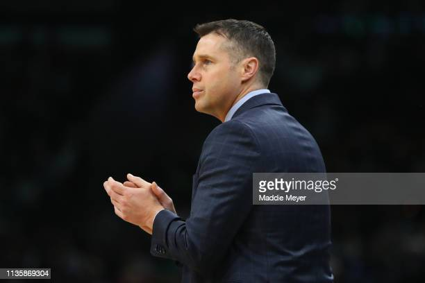 David Joerger of the Sacramento Kings looks on during the first quarter against the Boston Celtics at TD Garden on March 14 2019 in Boston...