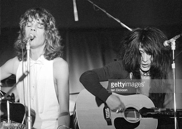 David Johansen and Johnny Thunders of New York Dolls perform on stage at the Rainbow Room at the fashion store Biba in Kensington, London on 26th...