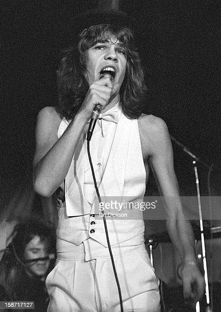 David Johansen of New York Dolls performs on stage at the Rainbow Room at the fashion store Biba in Kensington London on 26th November 1973