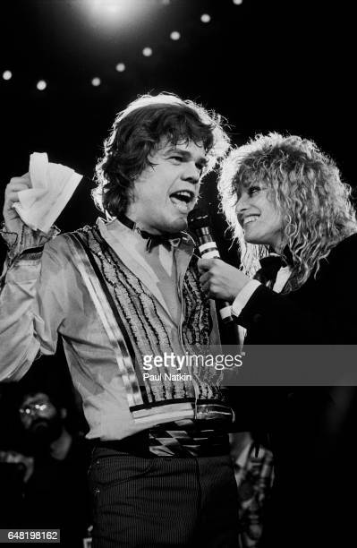 David Johanson being interviewed by MTV VJ Nina Blackwood at an MTV New Year's Eve Live Broadcast at the Diplomat Hotel in New York City December 31...