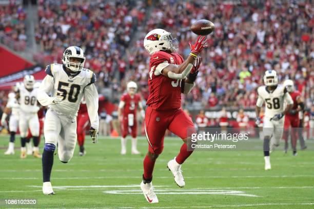 David Johnson of the Arizona Cardinals catches a 32 yard touchdown pass from wide receiver Larry Fitzgerald in the first half of the NFL game against...