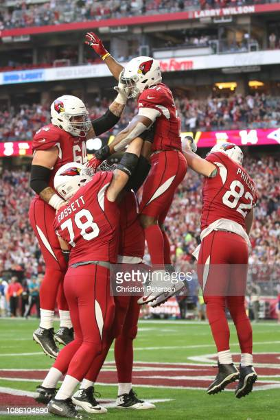 David Johnson of the Arizona Cardinals celebrates a 32 yard touchdown thrown by wide receiver Larry Fitzgerald in the first half of the NFL game...