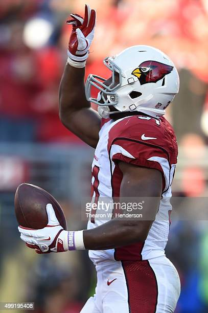 David Johnson of the Arizona Cardinals celebrates after scoring a touchdown on a oneyard rush against the San Francisco 49ers during their NFL game...