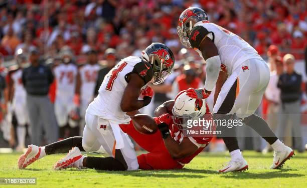 David Johnson of the Arizona Cardinals drops a pass during a game against the Tampa Bay Buccaneers at Raymond James Stadium on November 10 2019 in...
