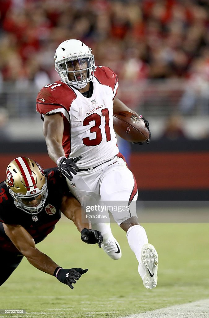 David Johnson #31 of the Arizona Cardinals in action against the San Francisco 49ers at Levi's Stadium on October 6, 2016 in Santa Clara, California.
