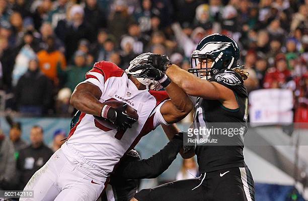 David Johnson of the Arizona Cardinals makes a rushing touchdown against Kiko Alonso of the Philadelphia Eagles during the third quarter at Lincoln...