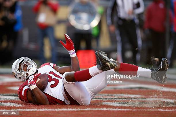 David Johnson of the Arizona Cardinals scores a touchdown on a oneyard rush against the San Francisco 49ers during their NFL game at Levi's Stadium...