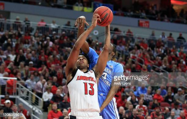 David Johnson of the Louisville Cardinals shoots the ball against the North Carolina Tar Heels at KFC YUM Center on February 22 2020 in Louisville...