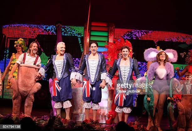 C David Johnson Tony Sheldon Will Swenson Nick Adams Jessica Phillips Luke Mannikus during the Opening Night Performance Curtain Call for 'Priscilla...