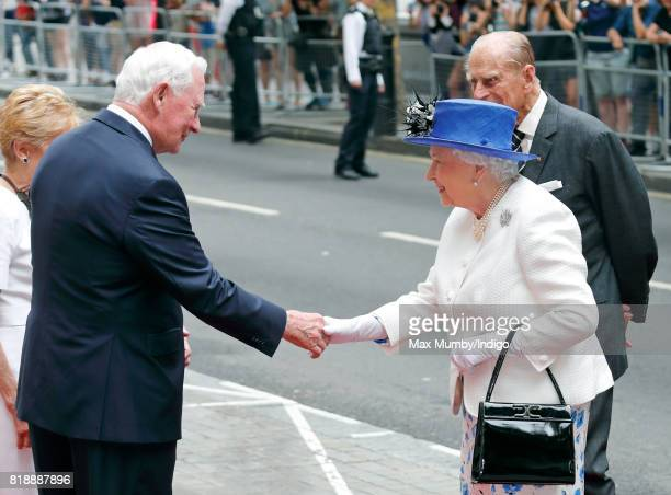 David Johnston Governor General of Canada greets Queen Elizabeth II as she visits Canada House to celebrate Canada's 150th anniversary of...