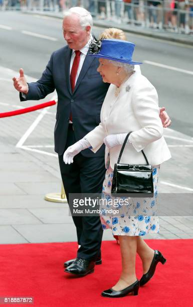 David Johnston Governor General of Canada puts his arm around Queen Elizabeth II as she visits Canada House to celebrate Canada's 150th anniversary...