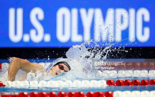 David Johnston of the United States competes in the Men's 1500m freestyle final during Day Eight of the 2021 U.S. Olympic Team Swimming Trials at CHI...