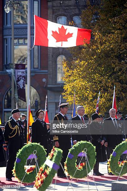 David Johnston Princess Anne her husband Sir Tim Laurence Prime Minister Stephen Harper his wife Laureen and Julian Fantino watch this morning's...