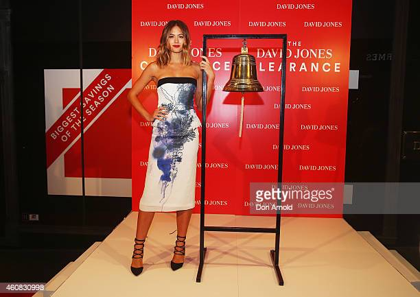 David Jones Ambassador Jesinta Campbell stands beside the bell just prior to the announcement of the start of the Boxing Day Sales at the Castlereagh...