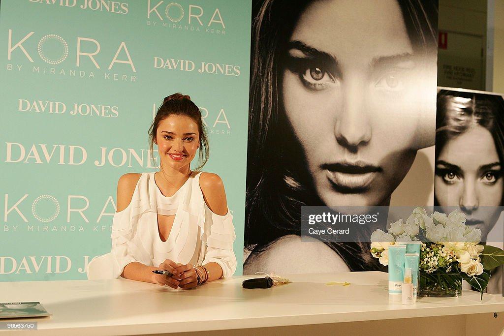 David Jones ambassador Miranda Kerr makes a public appearance to discuss her organic skincare range KORA in-store at David Jones Elizabeth Street on February 11, 2010 in Sydney, Australia.