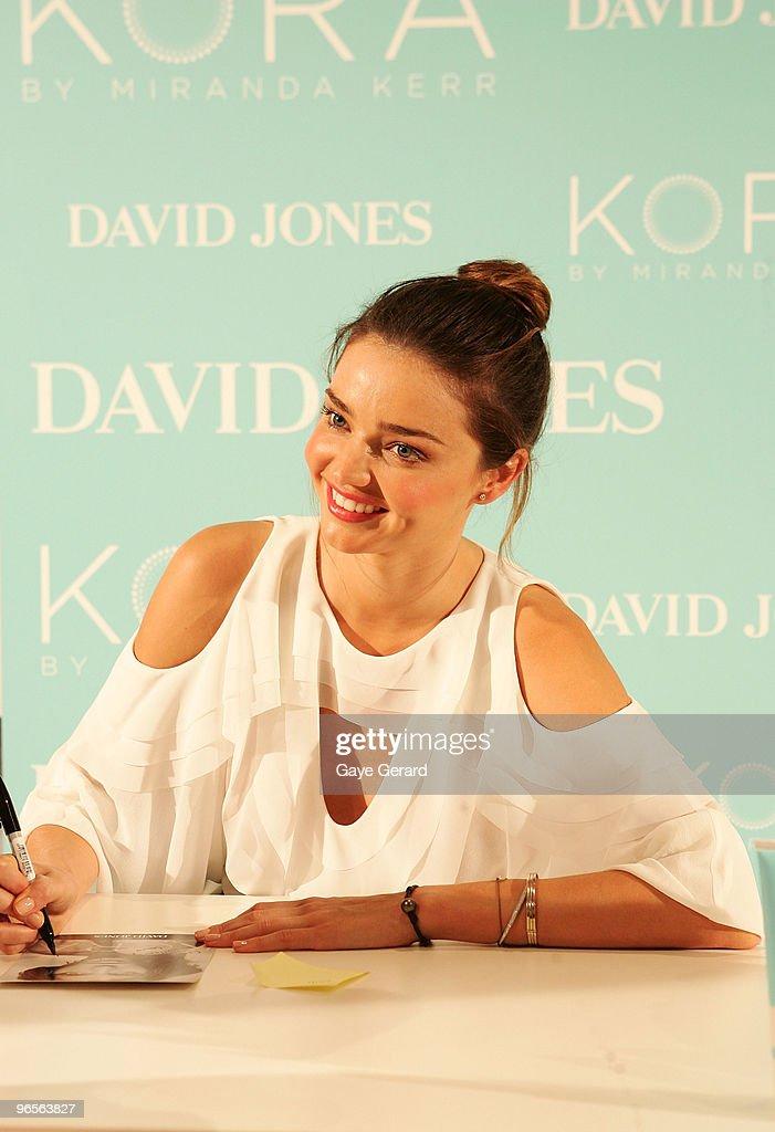 David Jones ambassador Miranda Kerr makes a public appearance to discuss her organic skincare range KORA and signs autographs for fans, in-store at David Jones Elizabeth Street on February 11, 2010 in Sydney, Australia.