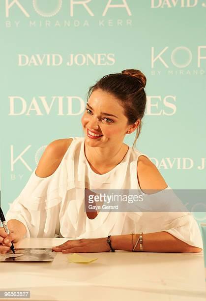 David Jones ambassador Miranda Kerr makes a public appearance to discuss her organic skincare range KORA and signs autographs for fans instore at...