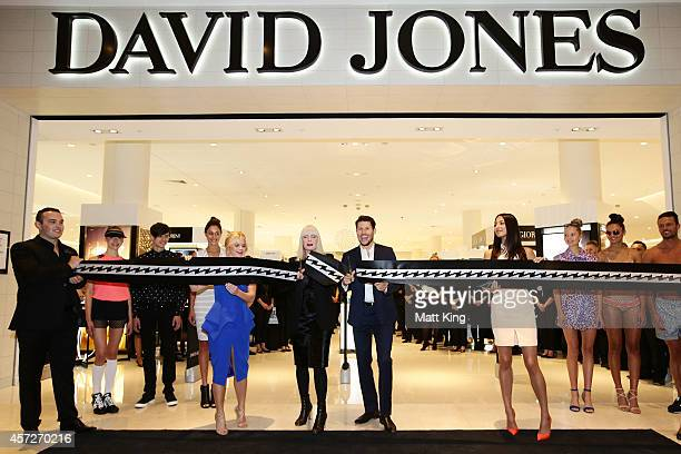 David Jones Ambassadors Emma Freedman Jason Dundas and Jessica Gomes along with David Jones Group Executive for Merchandise Donna Player officially...