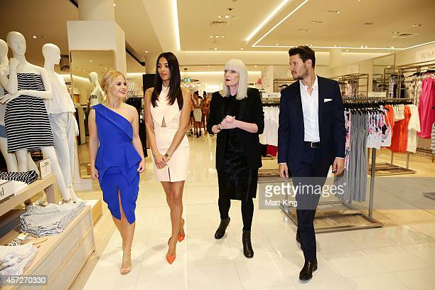 David Jones Ambassadors Emma Freedman Jessica Gomes and Jason Dundas are given a store tour with David Jones Group Executive for Merchandise Donna...