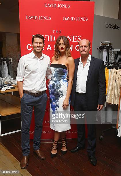 David Jones Ambassadors Jason Dundas and Jesinta Campbell pose alongside CEO Iain Nairn just after the announcement of the start of the Boxing Day...
