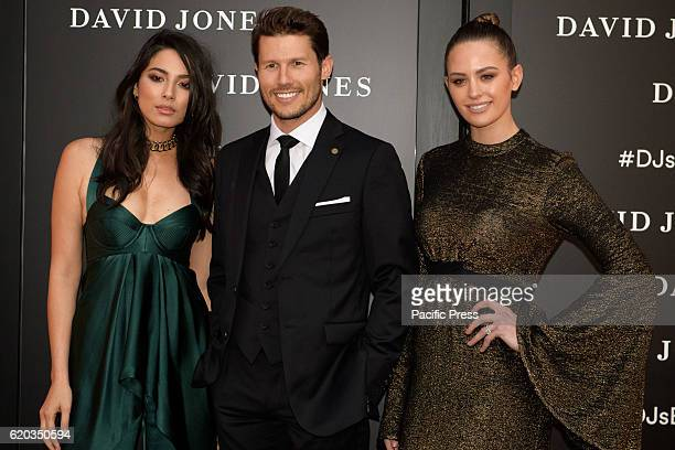 BARANGAROO SYDNEY NSW AUSTRALIA David Jones Ambassadors Jessica Gomes Jason Dundas and Jesinta Campbell poses for photographs during celebrations for...